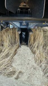 Chaff lining, where the chaff and weed seeds are laid down in a narrow line behind the combine. Weed seeds in the chaff struggle to survive in this inhospitable environment.