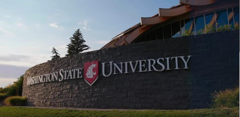 Washington State University exterior sign in Pullman, Washington
