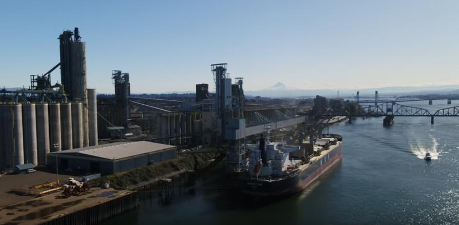 A cargo ship gets loaded with Washington grain in Portland, Oregon.